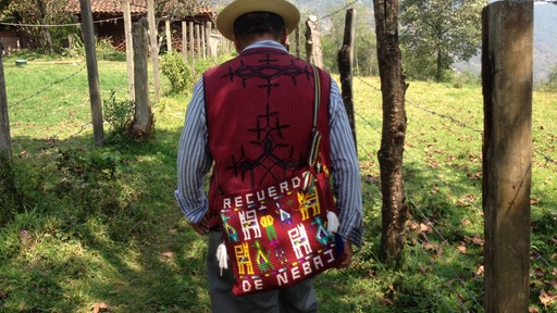 José Ceto Cabo, an Ixil civil war survivor who runs a small NGO that aids fellow Ixil survivors, leads Miles and Xeni to a clandestine grave from the civil war. Photo by Xeni Jardin.