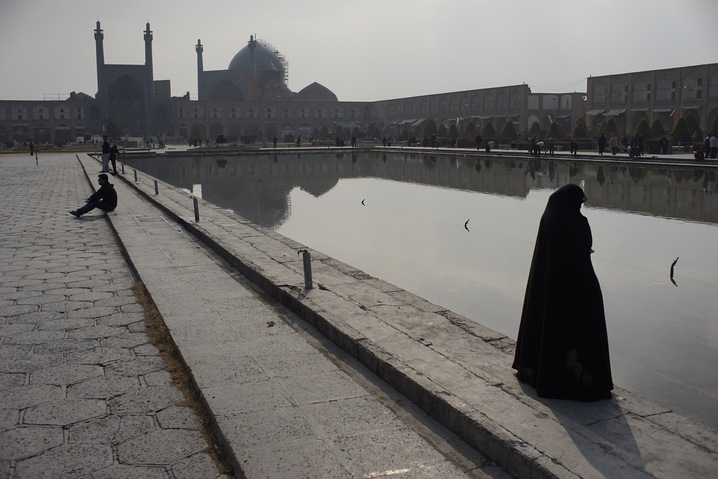 Woman at fountain, Iran